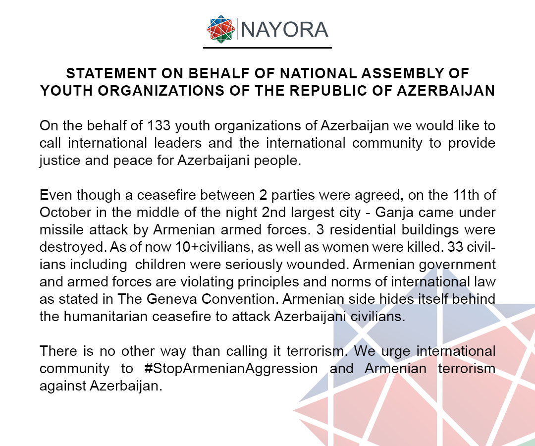 Statement on behalf of National Assembly of Youth Organisations of the Republic of Azerbaijan