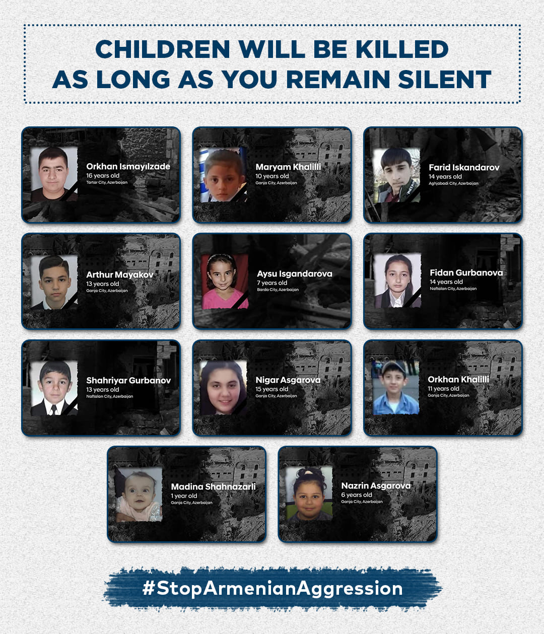 Innocent children will be killed as long as you remain silent